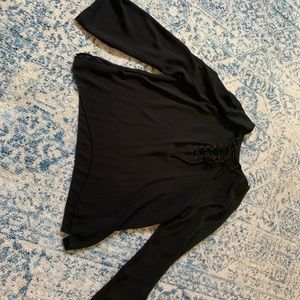 Black long sleeved lace up top